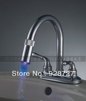 Free shipping LED kitchen faucet hot and cold copper faucet