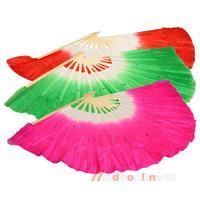 Stylish Colorful  Silk Veil  Folk Art Chinese Belly Dance Dancing Bamboo Short Fan  M3AO