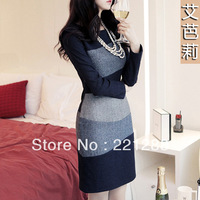 fall 2013 european style women's long sleeves temperament woolen dress brand mixed colors knee-length pencil dress