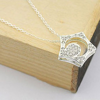 Korean Style Hollow Five-pointed star Pendant Necklaces With Full Rhinestone Cheap Jewelry Retail Free Shipping