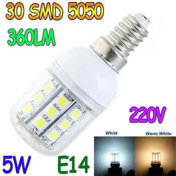 E14 E27 G9 5W 30 5050 SMD LED Light Bulb White / Warm White 220V Corn Light spotlight LED Lamp bulbs With Cover