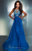 Buy Gemstone Beaded Hanging Neck Sexy Blue Chiffon Evening Dress Free Shipping Classic Birthday HK0104