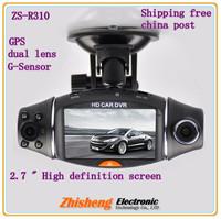 "GPS car dvr Dual lens 2.7"" LCD DVR camera recorder Video Dashboard vehicle Cam !Free Shipping !"