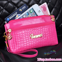 New arrival patent leather zipper short design portable wallet mobile phone bag female wallet key card holder