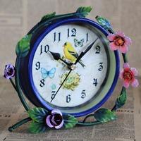 Iron bell Korean style Pastoral style Bird clock face Student Gifts Million flowers 1022C