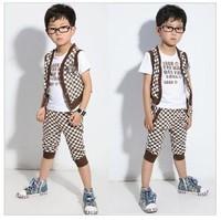 2014 Summer Korean version of the new children's clothing male Tong Gezi three-piece suit T-shirt + vest + pants