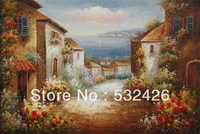 Tuscany Italian Town Estates Ocean Street of Flowers 24X36 Handpainted Oil Painting on Canvas Wall Art Home Deco Free Shipping