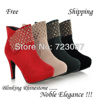 2013 Fashion Autumn Shoes Rhinestone Sexy Black Red Green Beige High Heels Point Toe Ankle Booties Flock Martin Women Boots