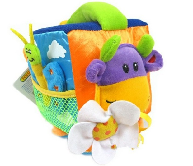 candice guo! hot sale baby toy multi-function TOLO portable square block rattle with BB device teether 1pc(China (Mainland))