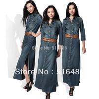 Free Shipping 2013 New Fashion Long Maxi Denim Dresses For Women Plus Size Ladies Jeans Vintage Sexy Dresses