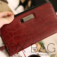 2014 women's brief mango red ol fashion long design multi card holder zipper wallet women's handbag