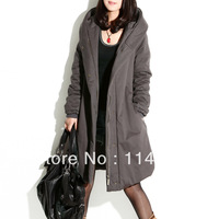 2013 women's winter cotton-padded jacket long design thickening wadded jacket