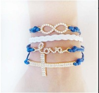 4 in one wrap Love Cross Infinity Leather Bracelet Crystals Rhinestone blue