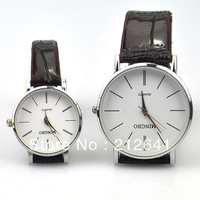 Free Shipping leather Band retro Rome simple fashion Round Dial White Quartz couple lover wrist watches