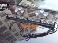 Police fire Warning light 4 Modules 24 LED 1W EMERGENCY WINDSHIELD STROBE LIGHTBAR DC12V #J46N all Red