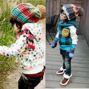 Child knitted hat autumn and winter cotton big boy thick cap student cap baby hat male female child cap