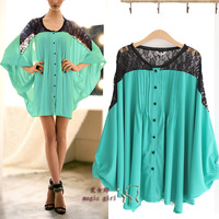 1261 2013 spring and summer lace loose shirt female plus size mm top fashion