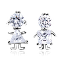 Stud earring female married the bride accessories asymmetrical anti-allergic zircon earrings  Free Shipping