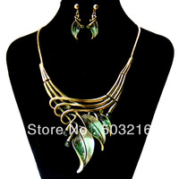 Free Shipping High Quality Leaf Shape 18K Gold Plated Necklace Set