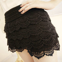 2012 women's multi-layer lace cutout crochet shorts legging