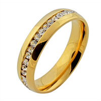 christmas gift 18K gold plated  Czech  crystal rings for women and girl  stainless steel ring accessories  jewelry