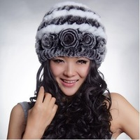 2013 Women's Natural Knitted Rex Rabbit Fur Hats Female Genuine Handmade Flower Winter Warm Caps