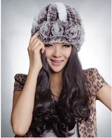 2013 Women's Natural Knitted Rex Rabbit Fur Hats Female Winter Genuine Handmade Thermal Flower Caps