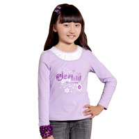 Female child long-sleeve T-shirt autumn round neck basic T-shirt children's clothing vw