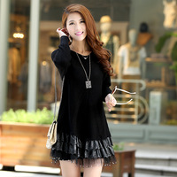 2013 spring women's loose medium-long patchwork lace sweater plus size sweater outerwear