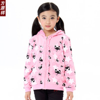 Female child outerwear spring and autumn child hooded outerwear sandwich female child zipper outerwear