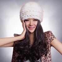 2014 Ladies' Natural Knitted Mink Fur Beanies Hats  Winter Women Fur Warm Striped Caps Headgear Accessories VK0925