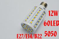Corn Bulb E27 15W 5050 SMD 60 LED Light Home Bedroom Lamp E14 220V 360 degree High Power Cool Warm White Free Shipping 2pcs/lot