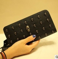 Bags 2013 women's handbag punk skull women's day clutch wallet clutch handle bag small bag