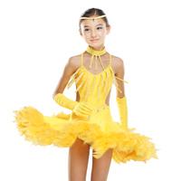 HO-05  Latin dance skirt Latin dance dress for girls diamond Girls latin dance wear Dance costumes feathers
