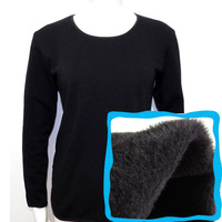Ball single tier o-neck solid color velvet women's thermal underwear black basic shirt spring and autumn