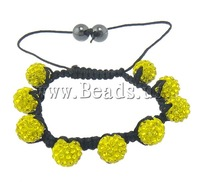 Free shipping!!!Rhinestone Shamballa Bracelets,Kawaii,, Clay, with Nylon Cord & Non-magnetic Hematite, with rhinestone, 10mm