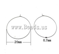 Free shipping!!!Stainless Steel Hoop Earring Component,Punk Style, 316 Stainless Steel, Donut, 20mm, 0.7mm, 1000Pairs/Bag