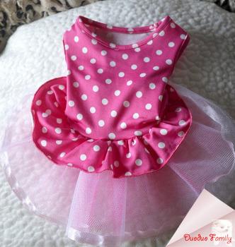 Rose Polka Dot dog spring and summer wedding dress fit Beagles,Yorkshire,Chihuahua,Pomeranian,Poodle,Labrador  Free Shipping