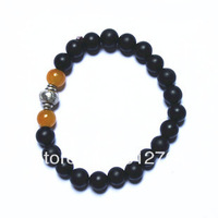 Free shipping wholesale 10pcs/lot 20*8mm genuine black sandalwood beads+2*8mm agate beads+Metal Buddha head charm man bracelets