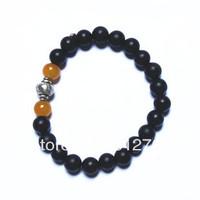 Free shipping wholesale 10pcs/lot 20*8mm genuine black sandalwood beads+2*8mm agate beads+Metal Buddha head charm man bracelets