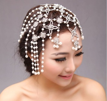 2013 New Crystal Pearl Bridal Hair Jewelry Rhinestone Headband Wedding Hair Accessories Pageant Quinceanera Tiara Crown WIGO0134