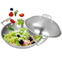Chinese style double handle wok 304 compound steel smoke coating wok cooking pots and pans