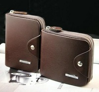Free Shipping On Sale High Quality Male zipper short design genuine leather wallet vertical men's cowhide wallet card holder