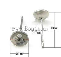 Free shipping!!!Stainless Steel Earring Post,2013 designer brand women, 304 Stainless Steel, 13x8mm, 0.7mm
