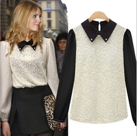 Free Shipping Factory Direct Sale 2013 Women Rhinestone Lapel Collar Long Sleeve Lace Blouse QNE1663