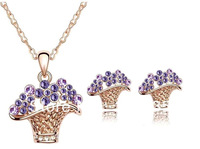 Min.order $12(mix order) HOT SALE   jewelry sets SWA element crystal 18k platinum plated fashion  Fashionable flower
