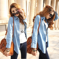 2014 New Spring Autumn plus size denim shirt women's long-sleeve shirt medium-long mm loose