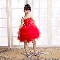 Red clothing puff dress female child princess dress child dance flower girl formal dress b029