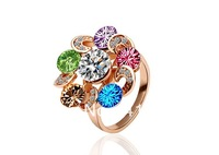 Freeshioping ( Min.Order Is $10 )  2013 fashion Italina crystal jewelry fashion Personality wedding flower rings for women R058