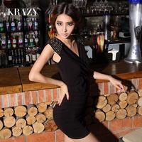 Krazy fashion van brief rivet punk handmade patchwork sexy V-neck 739 slim one-piece dress